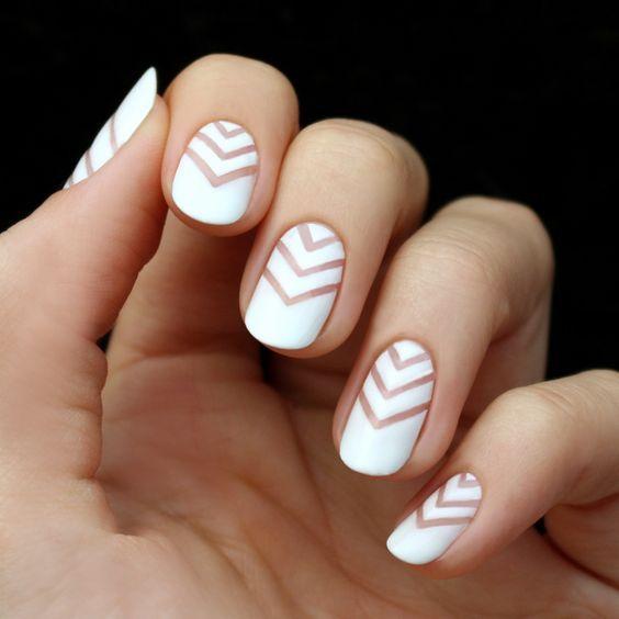White chevron nails #weddingnails