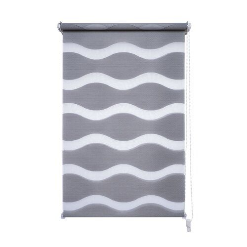 Wave Semi-Sheer Roll-Up Blind Mercury Row Size: 90cm W x 150cm L, Colour: Grey