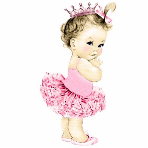 Vintage Pink Ballerina Princess Baby Girl Shower Statuette ...