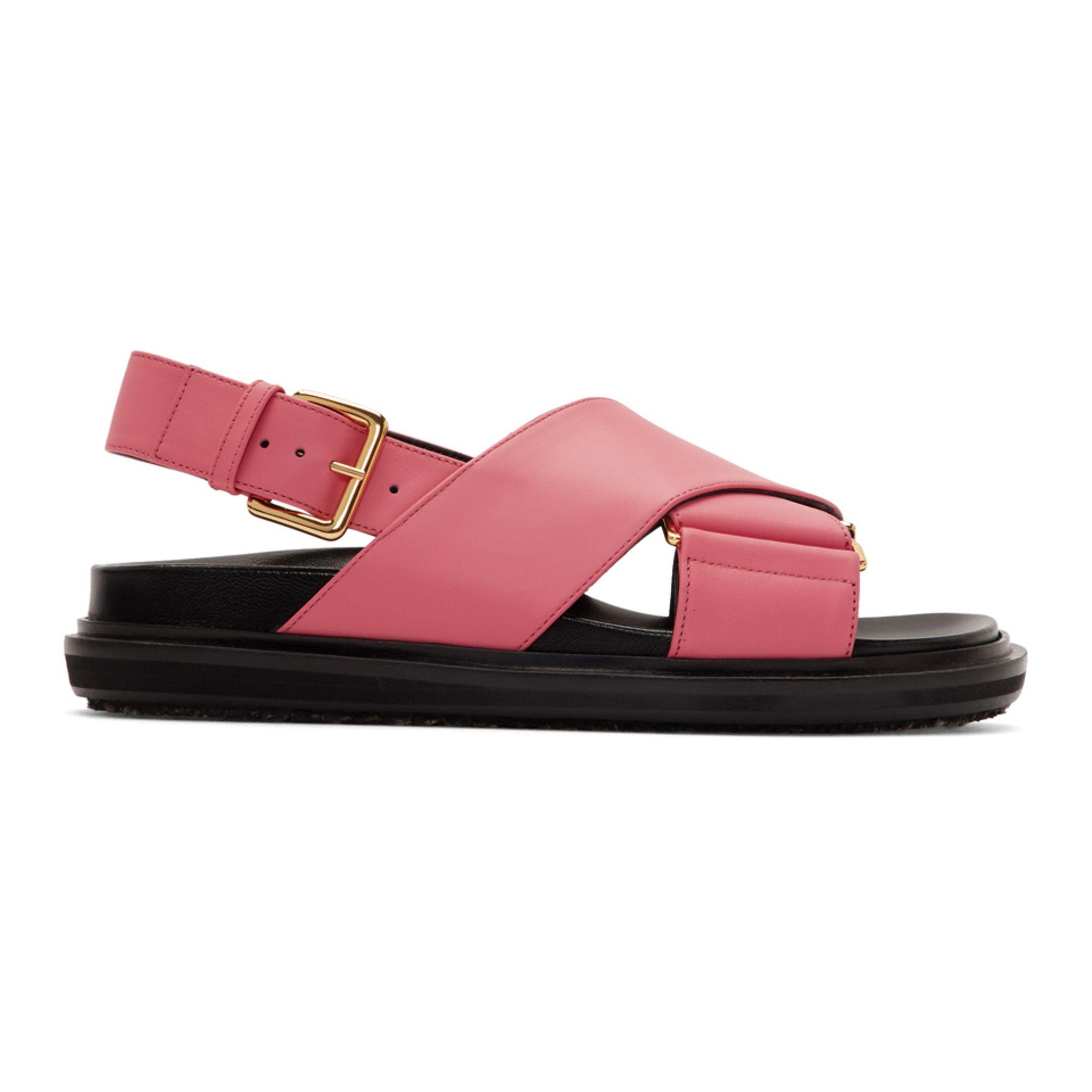 Marni Pink Black Fussbett Sandals Ssense White Leather Sandals Slingback Sandal Christian Louboutin Sandals
