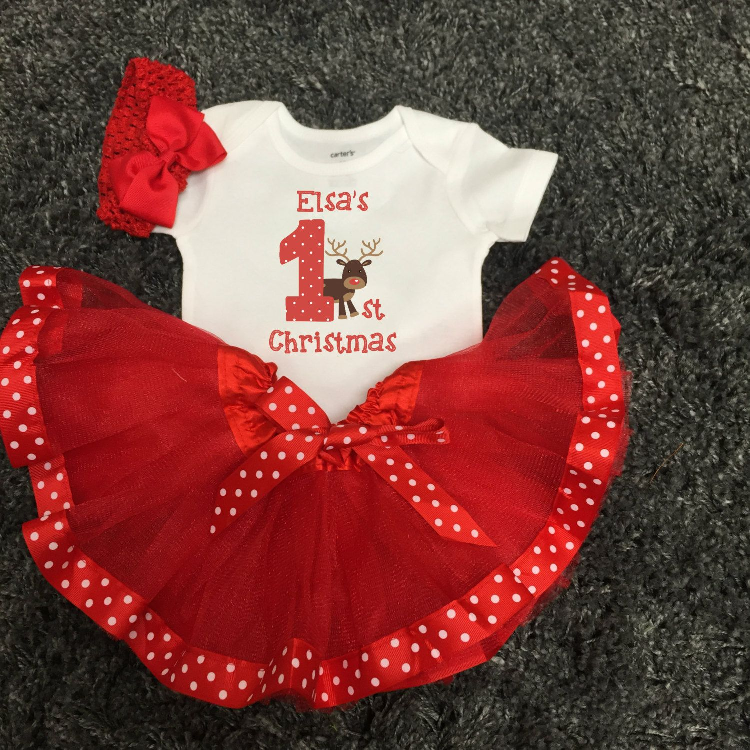Babys first christmas outfit first christmas tutu outfit with babys first christmas outfit first christmas tutu outfit with reindeer personalized any name polka dot ribbon negle Image collections