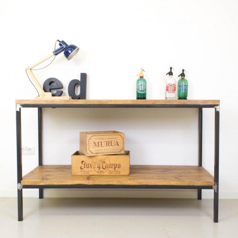 Mueble auxiliar de cocina de hierro y madera mesas for Mueble mesa cocina
