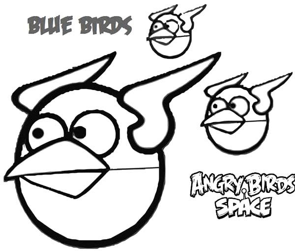 Ausmalbilder Angry Birds Space: Blue Birds Angry Bird Space Coloring Pages