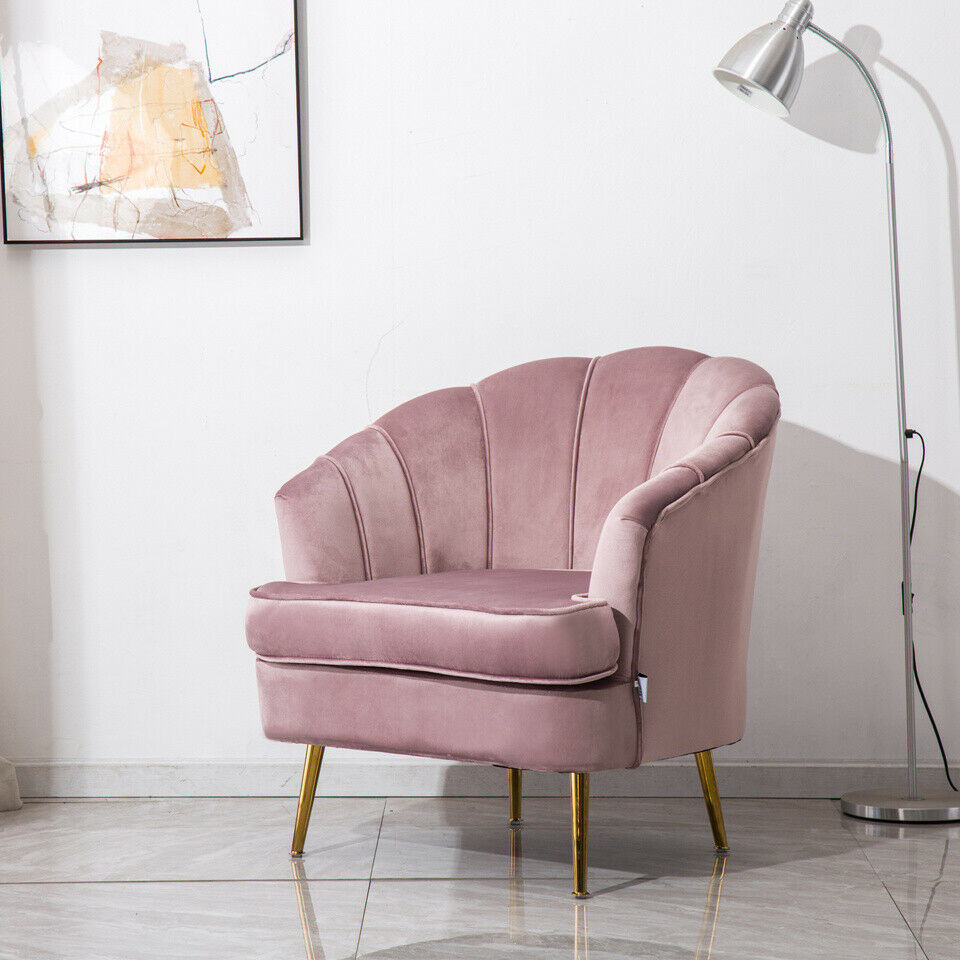 Occasional Scallop Oyster Velvet Armchair Lotus Pink Chair