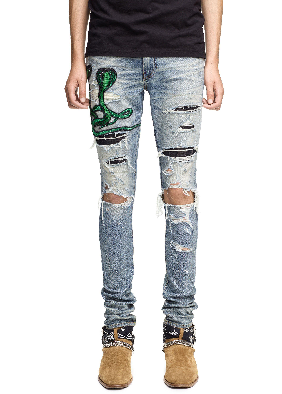Trending Apparel Men Ripped Biker Blue Jeans