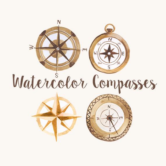 Watercolor Compasses, Compass Clip Art, Explorer Clipart ...