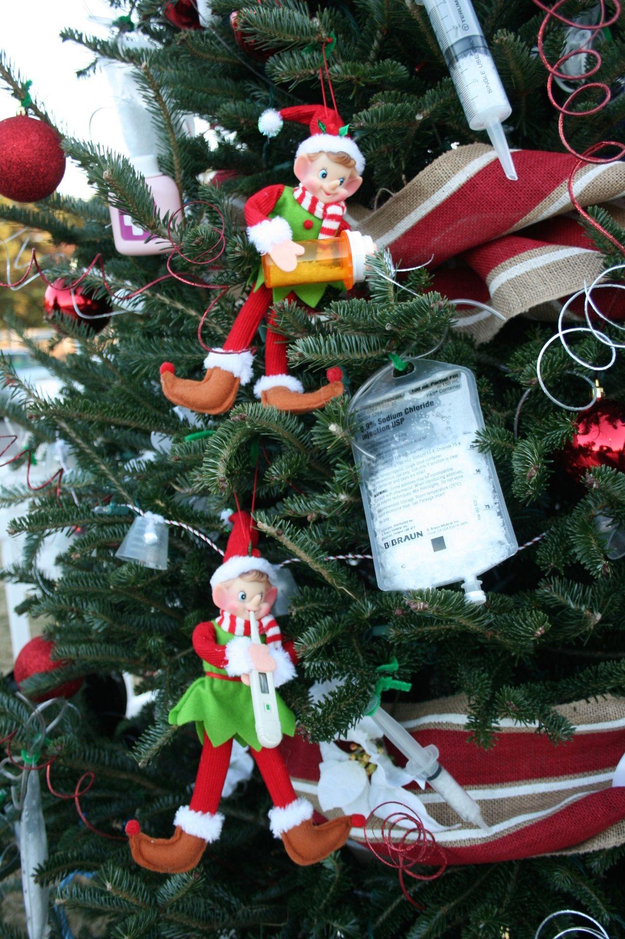 Nurse Christmas Tree use medical supplies to decorate