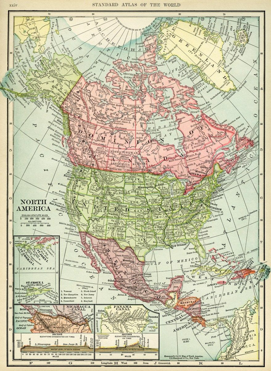 here is a beautiful old map of north america countries included