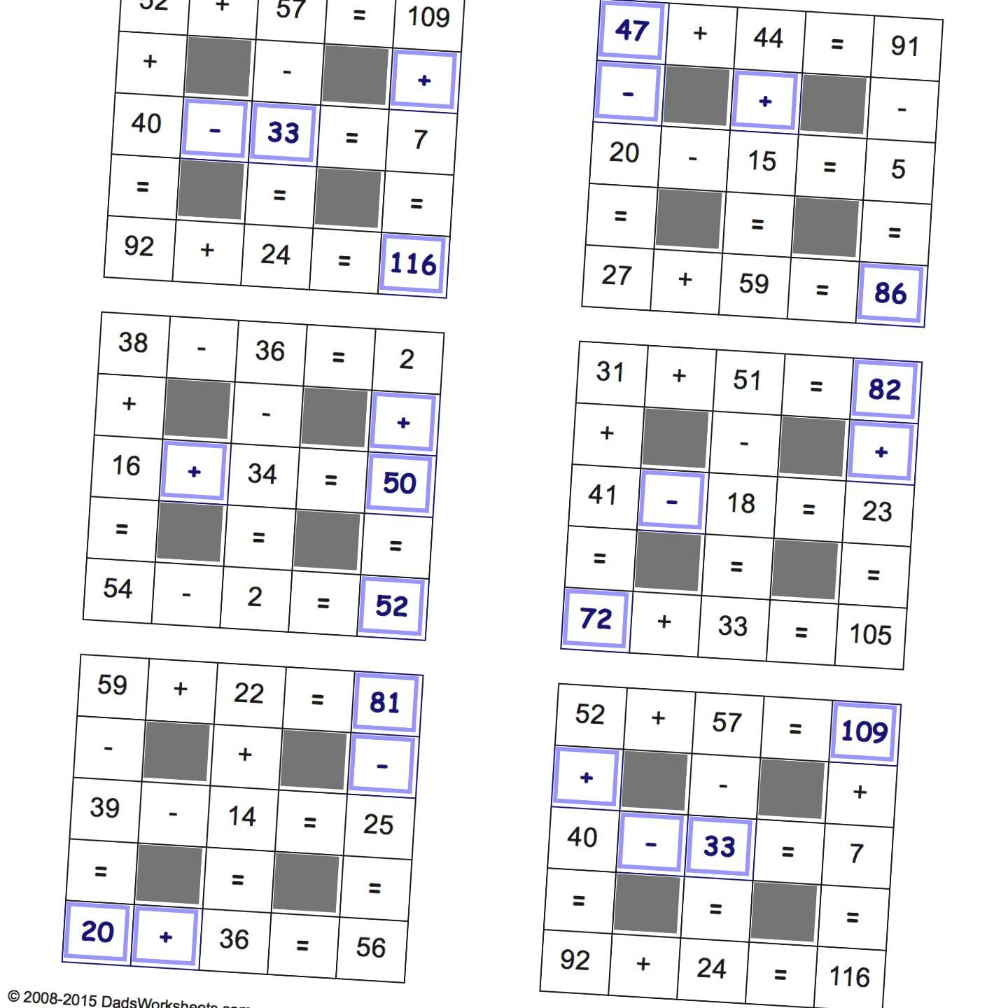 Grid Puzzles Addition And Subtraction Addition And