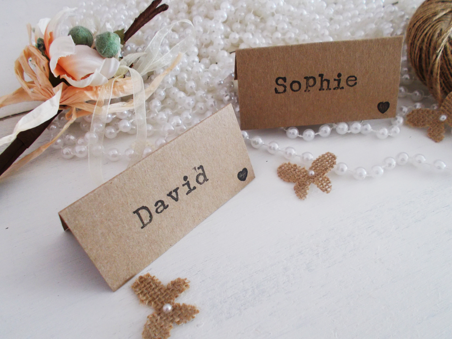 Rustic wedding place cards - rustic wedding - shabby chic wedding ...