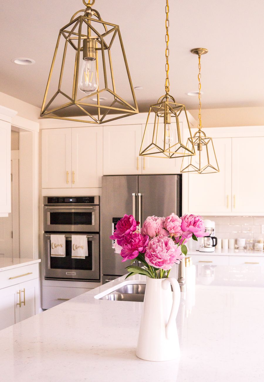 White And Gold Kitchen Gold Lantern Pendant Lights Pink Peonies Updating House Gold Pendant Lighting Kitchen Pendant Lighting