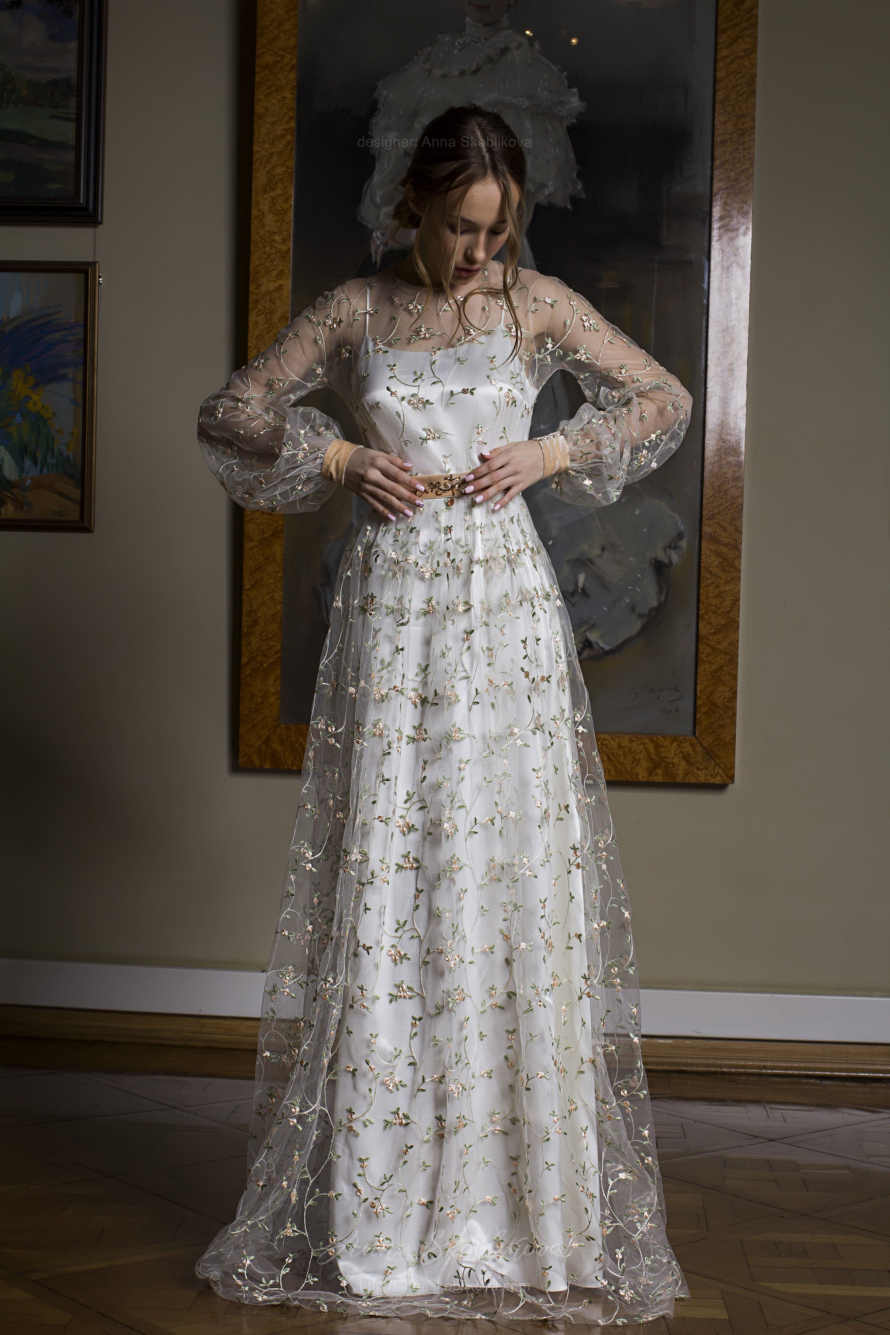 Colored Wedding Dress Camellia Alternative Wedding Dress Anna Skoblikova Simple Wedding Dress Boho Embroidered Wedding Dress Alternative Wedding Dresses