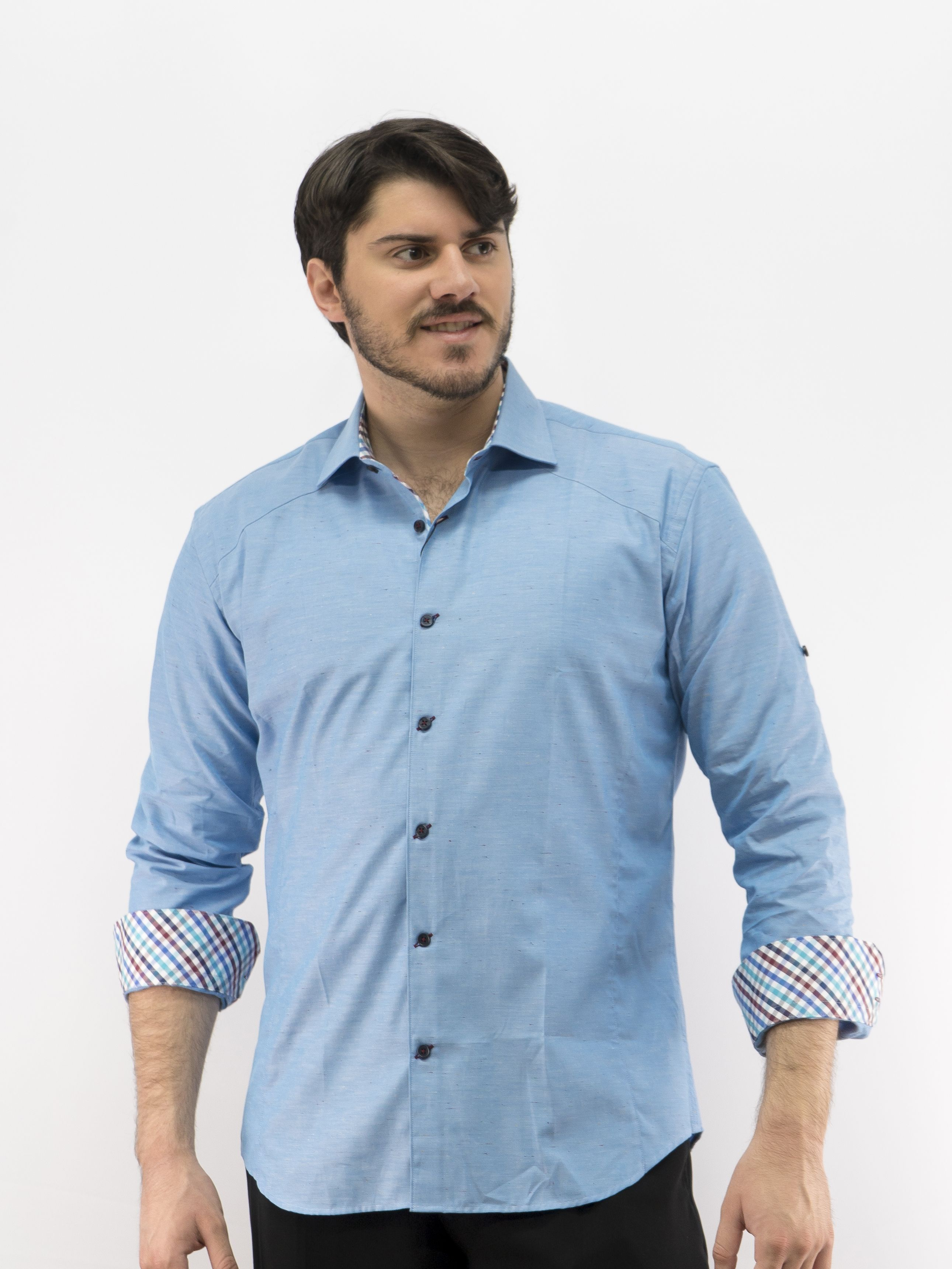 551cd7d1cc Men s Long Sleeve Dress Shirt Blue 100% Premium Cotton D Accord 4480 ...