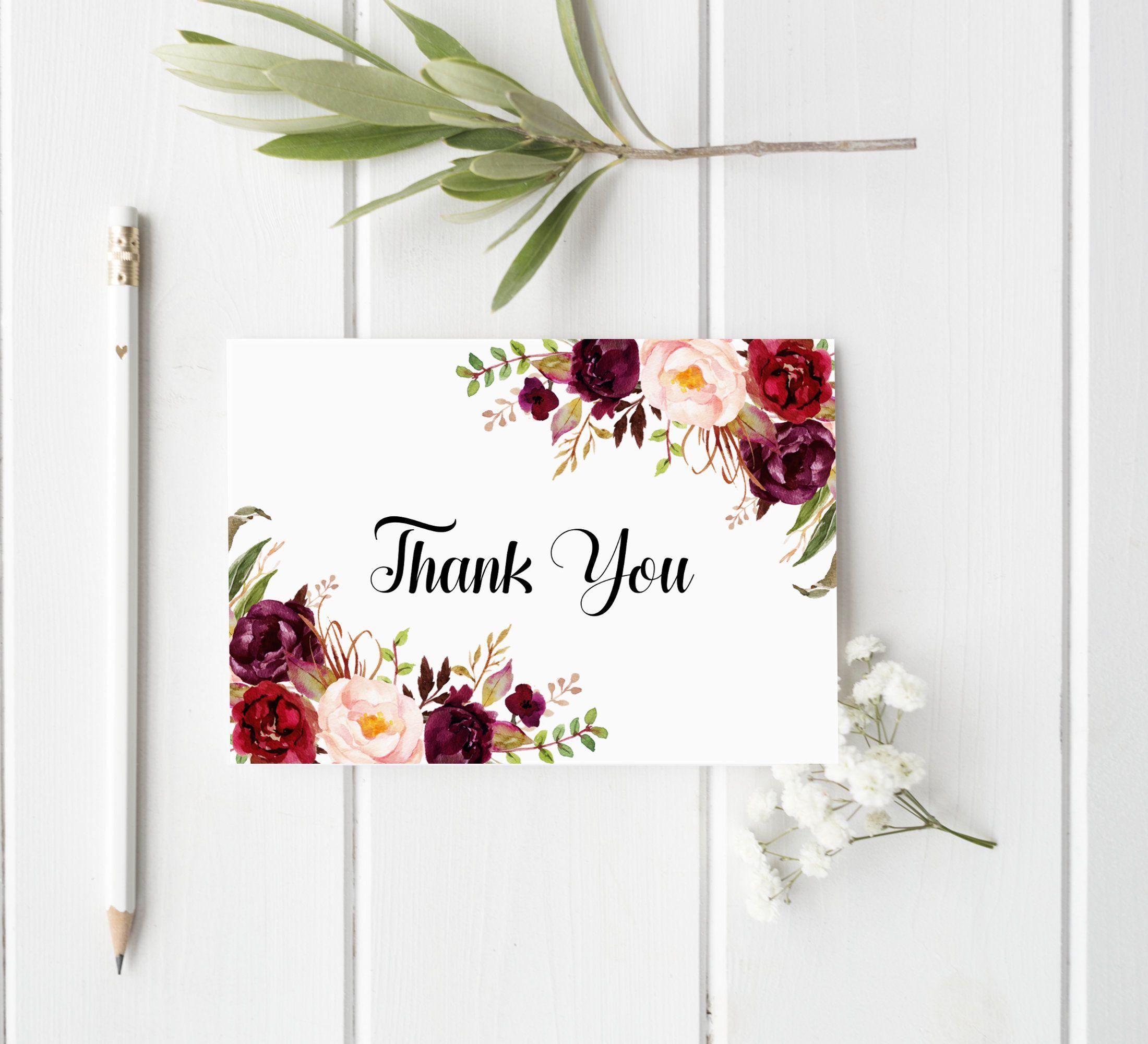 Burgundy Thank You Card Template Printable Thank You Card Etsy Printable Thank You Cards Thank You Note Cards Card Templates Printable Folded thank you card template