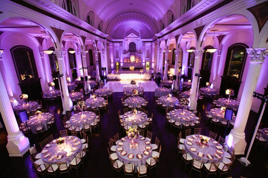 events vibiana wedding los angeles wedding purple lighting architectural