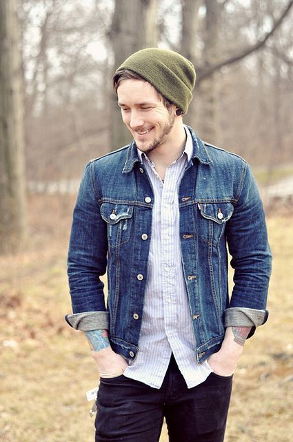 Men's Blue Denim Jacket, White Vertical Striped Long Sleeve Shirt ...