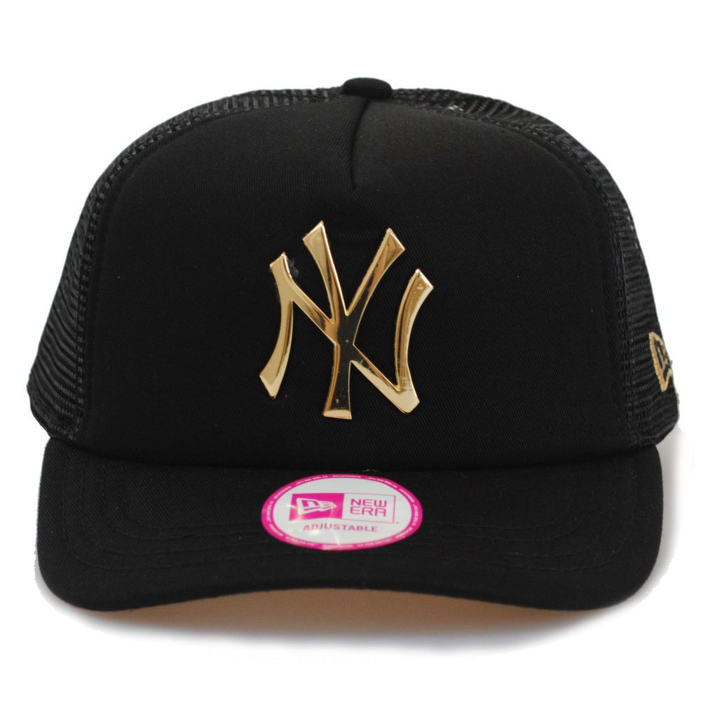 d3ca4a652af New Era Women s NY Yankees Metal Logo Padded Gold Black Mesh Trucker Hat Cap