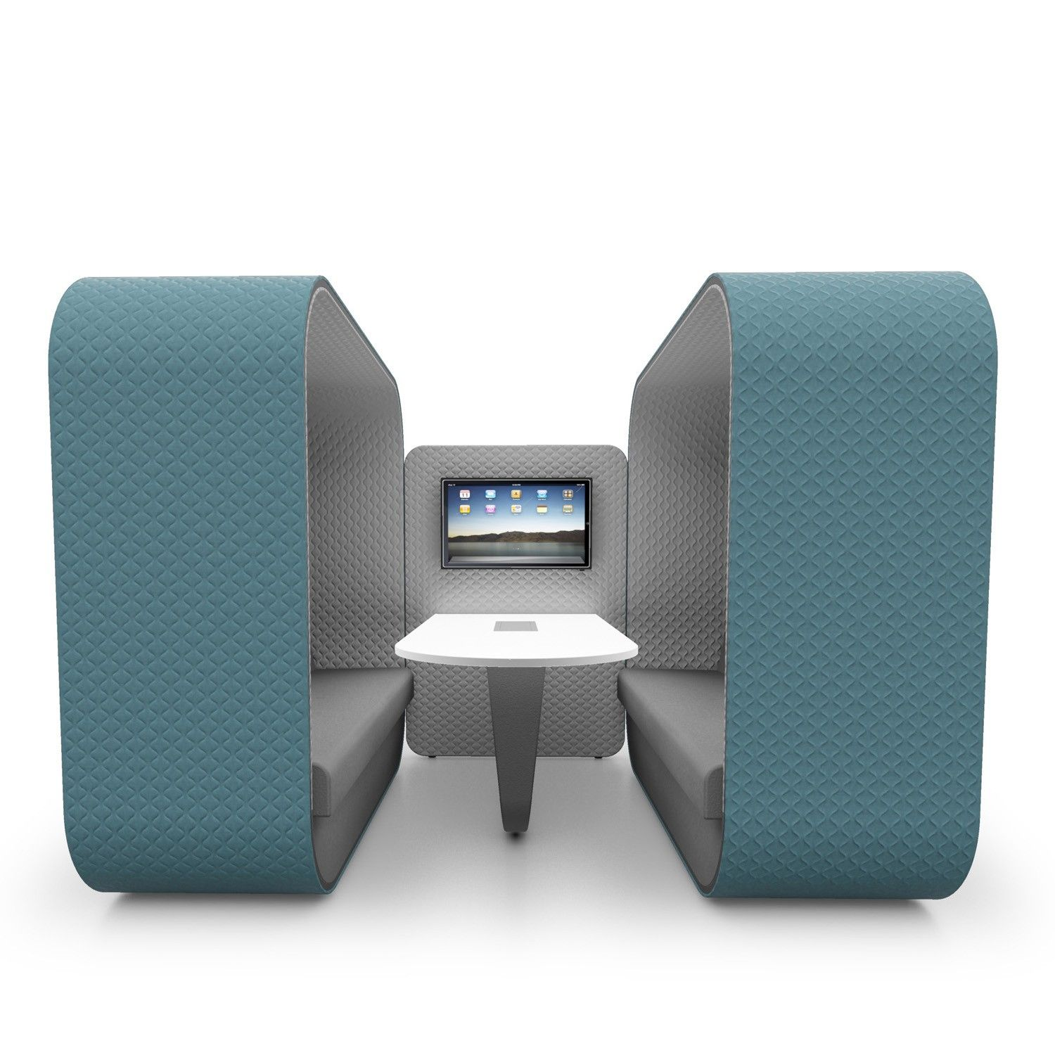Cocoon Workbay Units are innovative informal meeting solutions with built  in AV using high back sofas