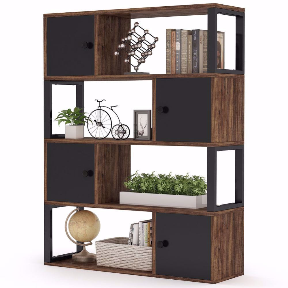 4 Tier Bookcase Rustic Open Bookshelf With Storage Cabinet In