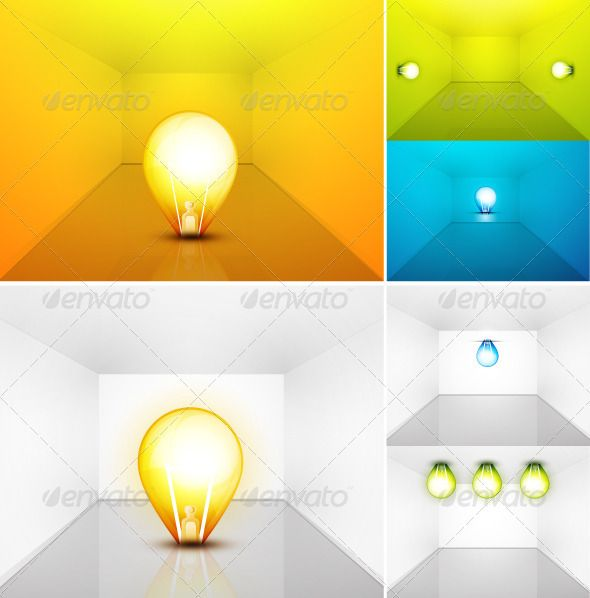 Vector set of light bulbs in room. Perspective vie  #GraphicRiver         Set of perspective views of room interiors. Clean glossy style. Orange, green, blue and white colors.     Created: 16May12 GraphicsFilesIncluded: VectorEPS Layered: No MinimumAdobeCSVersion: CS Tags: 3d #blue #bulb #energy #green #light #orange #perspective #room