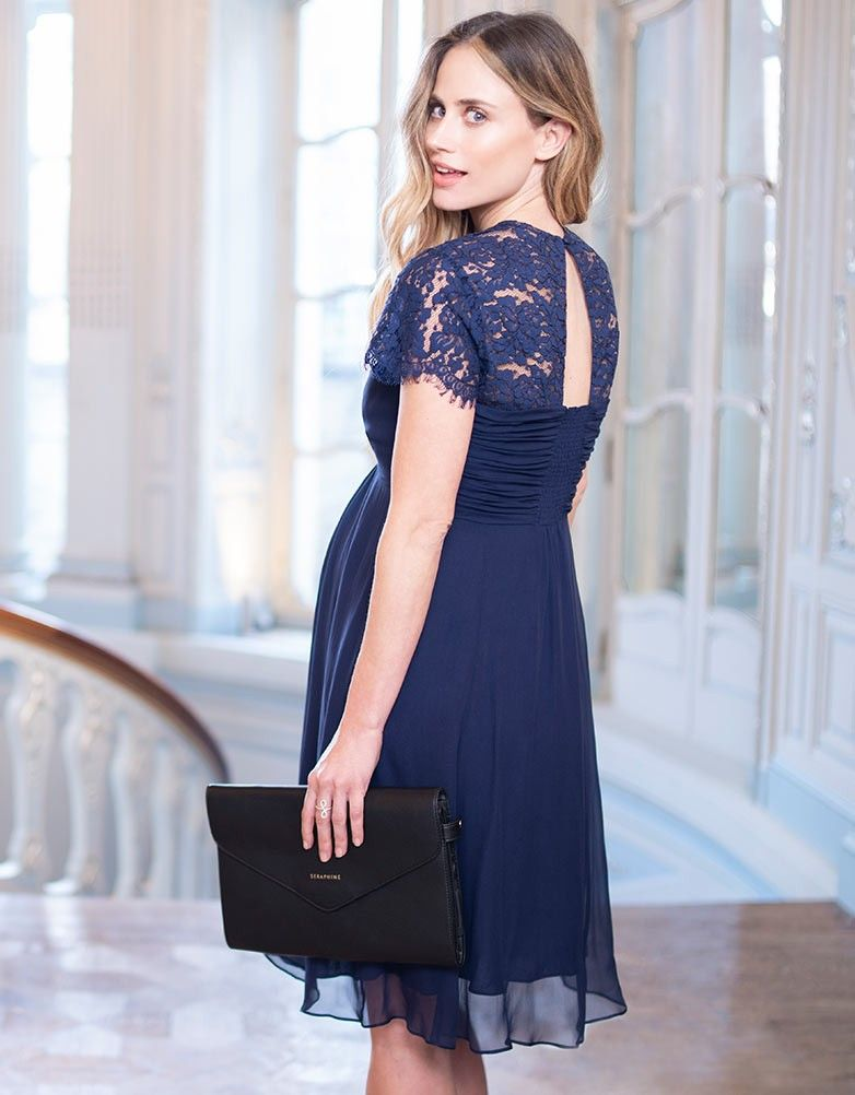 a9ae2253fb Turn heads at your next special occasion in the Navy Blue Silk   Lace  Maternity Cocktail Dress. Maternity Style