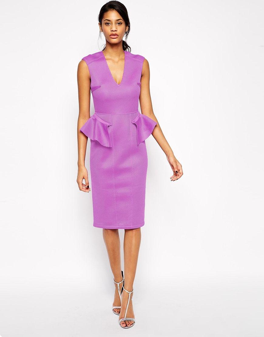Image 1 of ASOS Mesh Peplum Midi Dress | Bridesmaid Dress Options ...