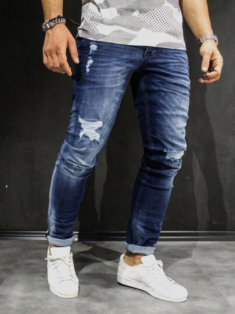 blue slim fit ripped jeans PLEASE NOTE THE LENGTH IS 33 (FOR ALL WAIST  SIZES) size   W x L (Waist x Length) -98% Cotton 2% Spandex -Zipper Fly  -SLIM FIT e0e7e3904