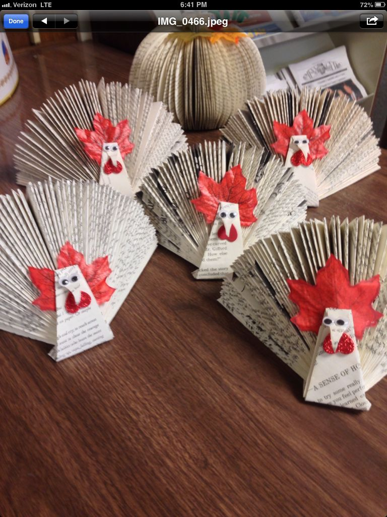 Recycled Book Turkeys Book Art Diy Old Book Crafts Book Page Crafts