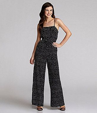 54930125838d Sequin Hearts Dot-Print Jumpsuit - ShopStyle Wide Leg
