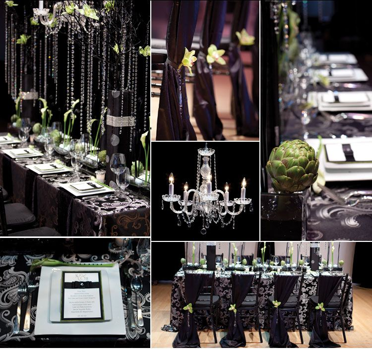 Beautiful Damask Black White And Green Tablescape With A Touch Of Bling