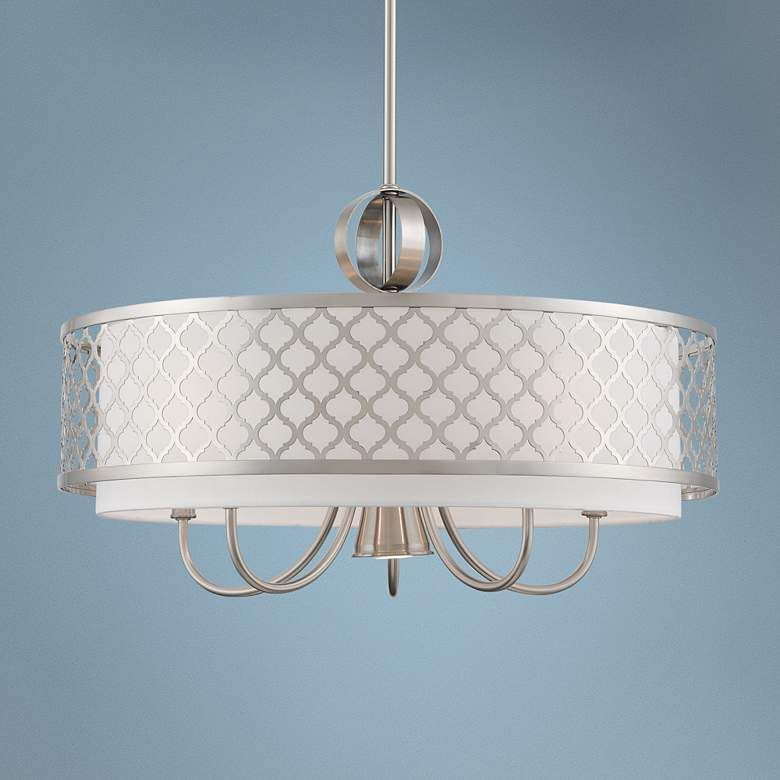 Arabesque 24 W Brushed Nickel Drum Pendant With Downlight 69m68