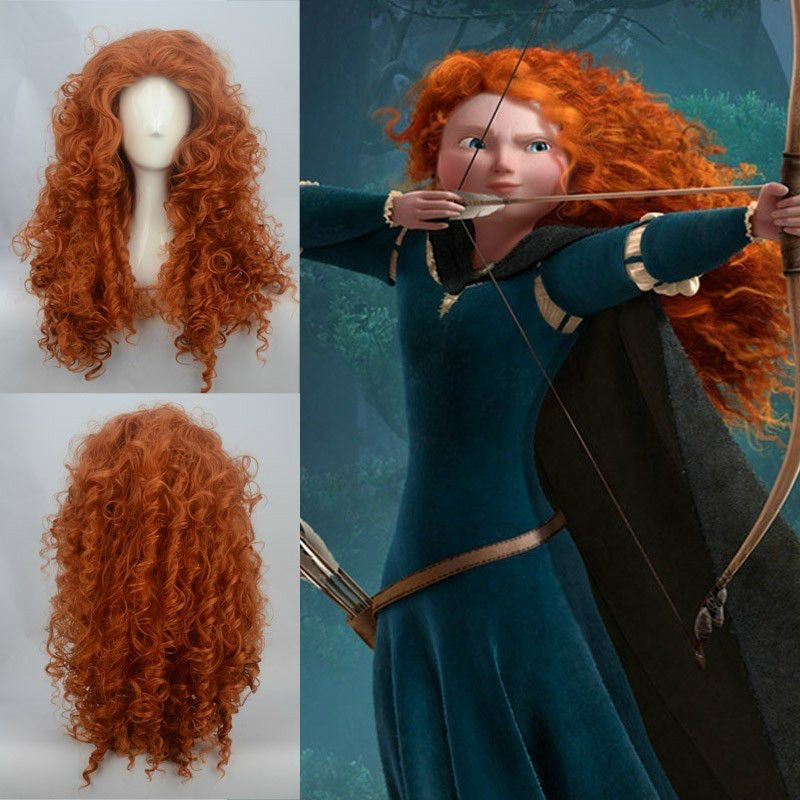 Brave Merida Long Curly Wavy Orange Hair Heat Resistant Cosplay Wigs
