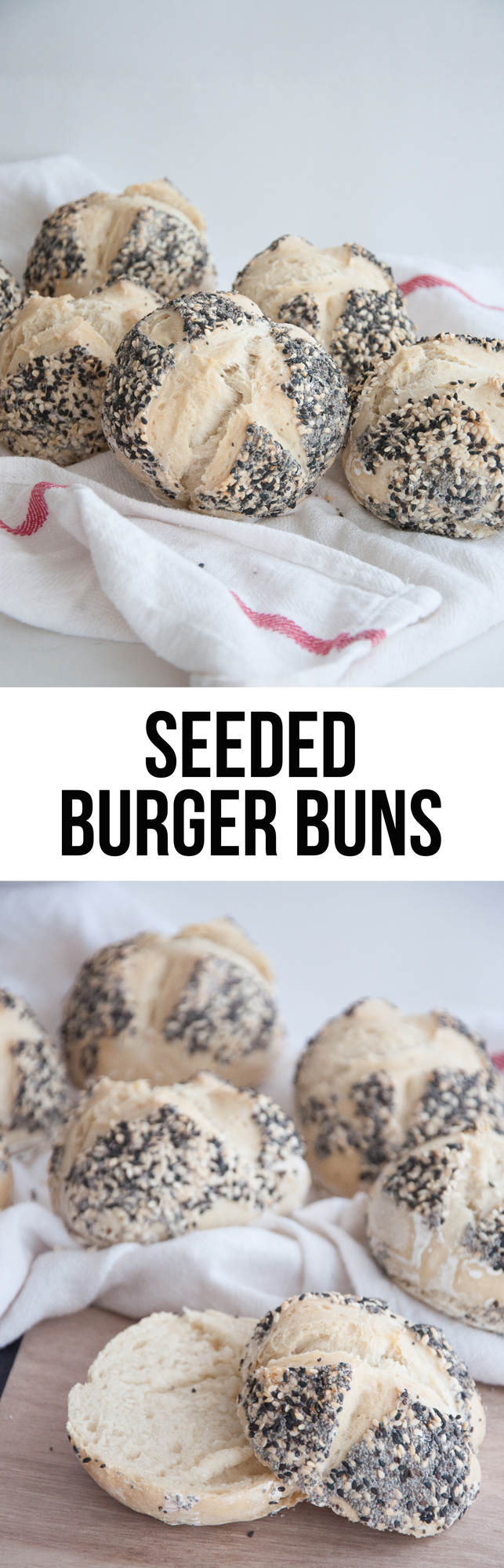 Vegan Seeded Burger Buns. Fluffy & topped with black and white sesame seeds and poppy seeds.