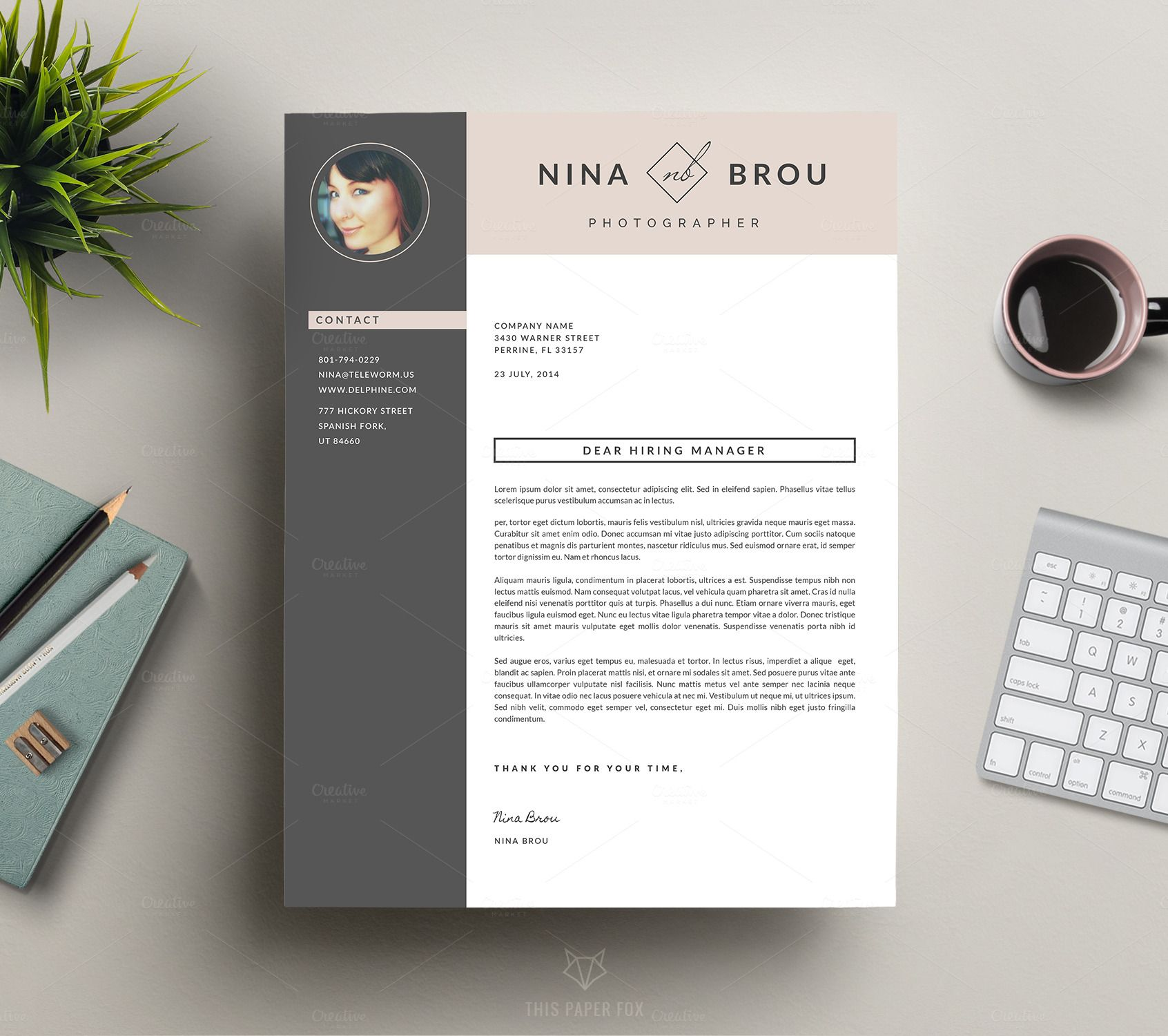 Feminine Resume Design  Cv  Template Design Resume And Typography