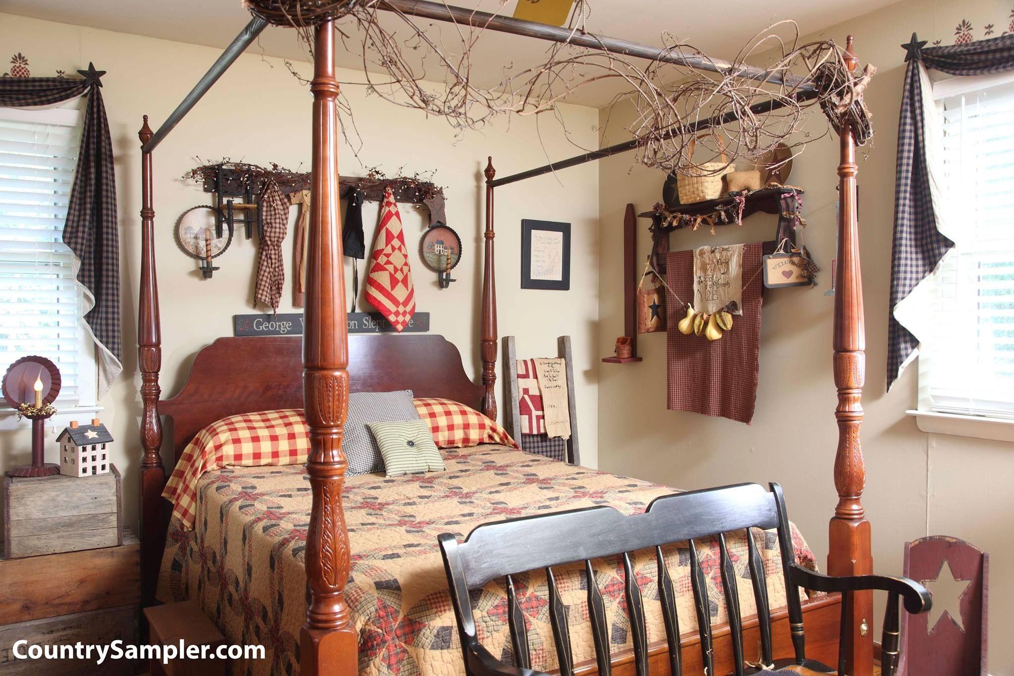 Country Sampler Primitive country bedrooms, Primitive