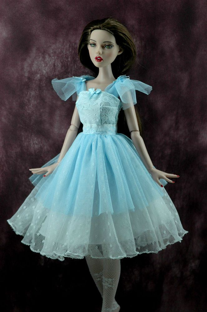 "TONNER DEJA VU 16"" doll clothes vintage white blue short dress"