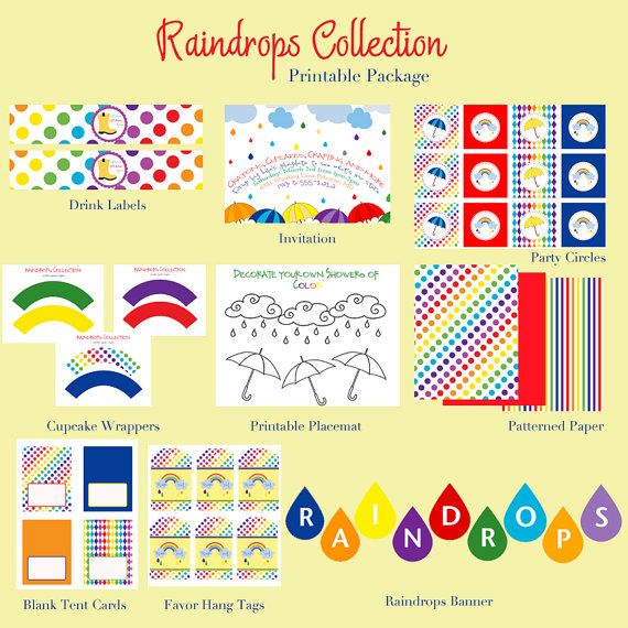 RAINBOW BIRTHDAY PARTY or Play Date Collection by LibbyLanePress, $25.00