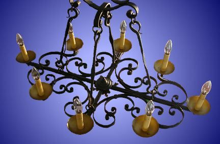 Antique Wrought Iron Candle Chandelier From Our Lighting Catalogue