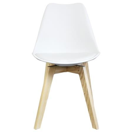 Moma Chair with Square Legs, White/Natural Moma, Squares and