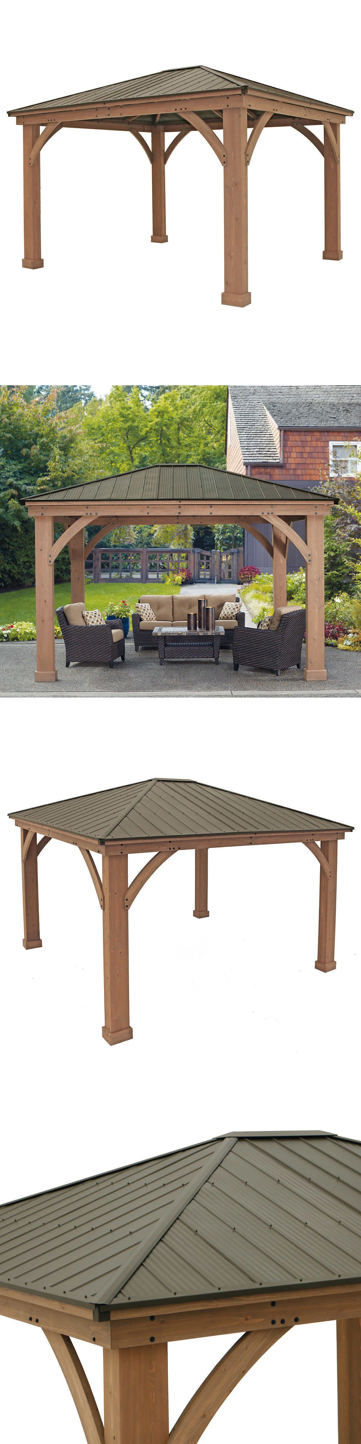 Gazebos 180995 Yardistry 12 X 14 Cedar Gazebo With Aluminum Roof