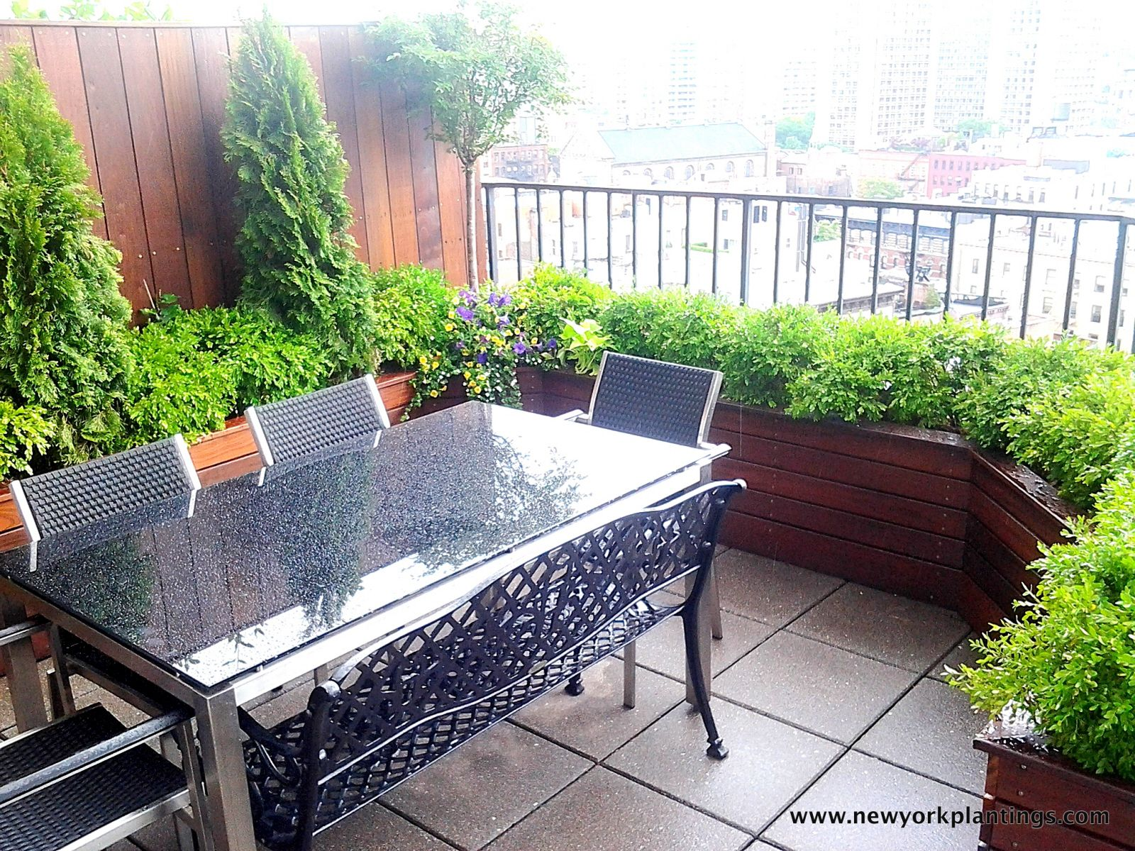 Container Garden Design Property nyc roof garden: terrace composite deck, planter boxes, container
