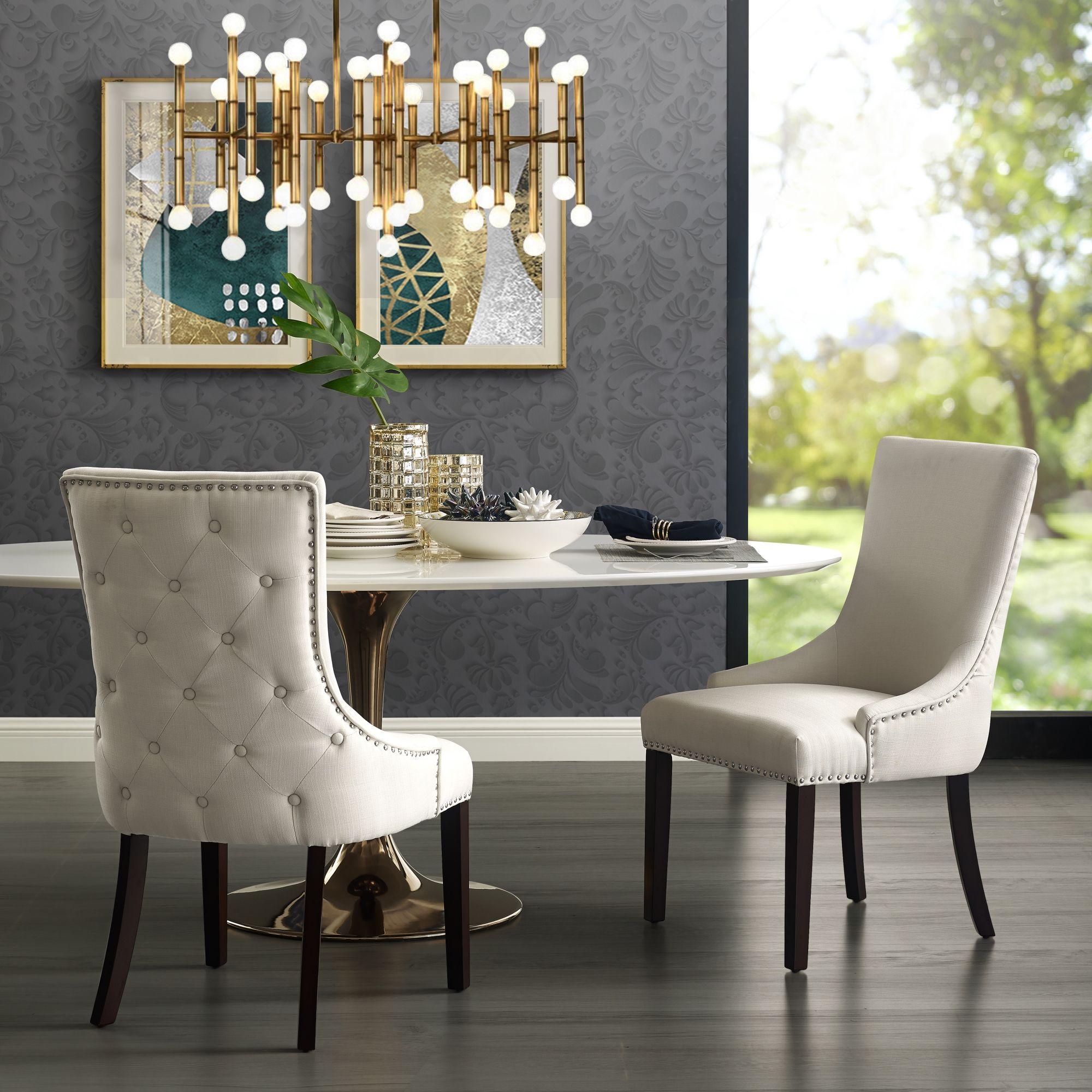 Inspired Home Cream White Linen Dining Chair Button Tufted Armless In 2021 Linen Dining Chairs Dining Chairs White Dining Chairs