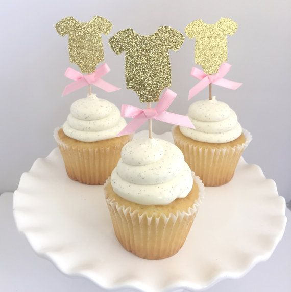 20 Gold Glitter Baby Shower One Piece Cupcake Topper With Pink Bow. Cupcake  Decor. Baby Girl Shower. Food Pick