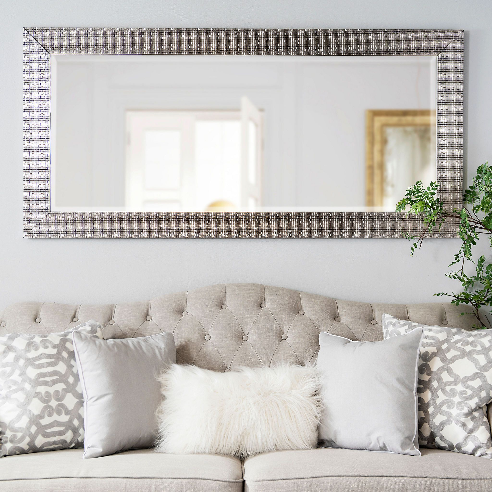 Metallic Silver Block Framed Mirror, 31.5x65.5 in | Pinterest