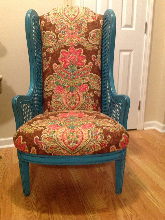 vintage cane wing back chair newly by on etsy