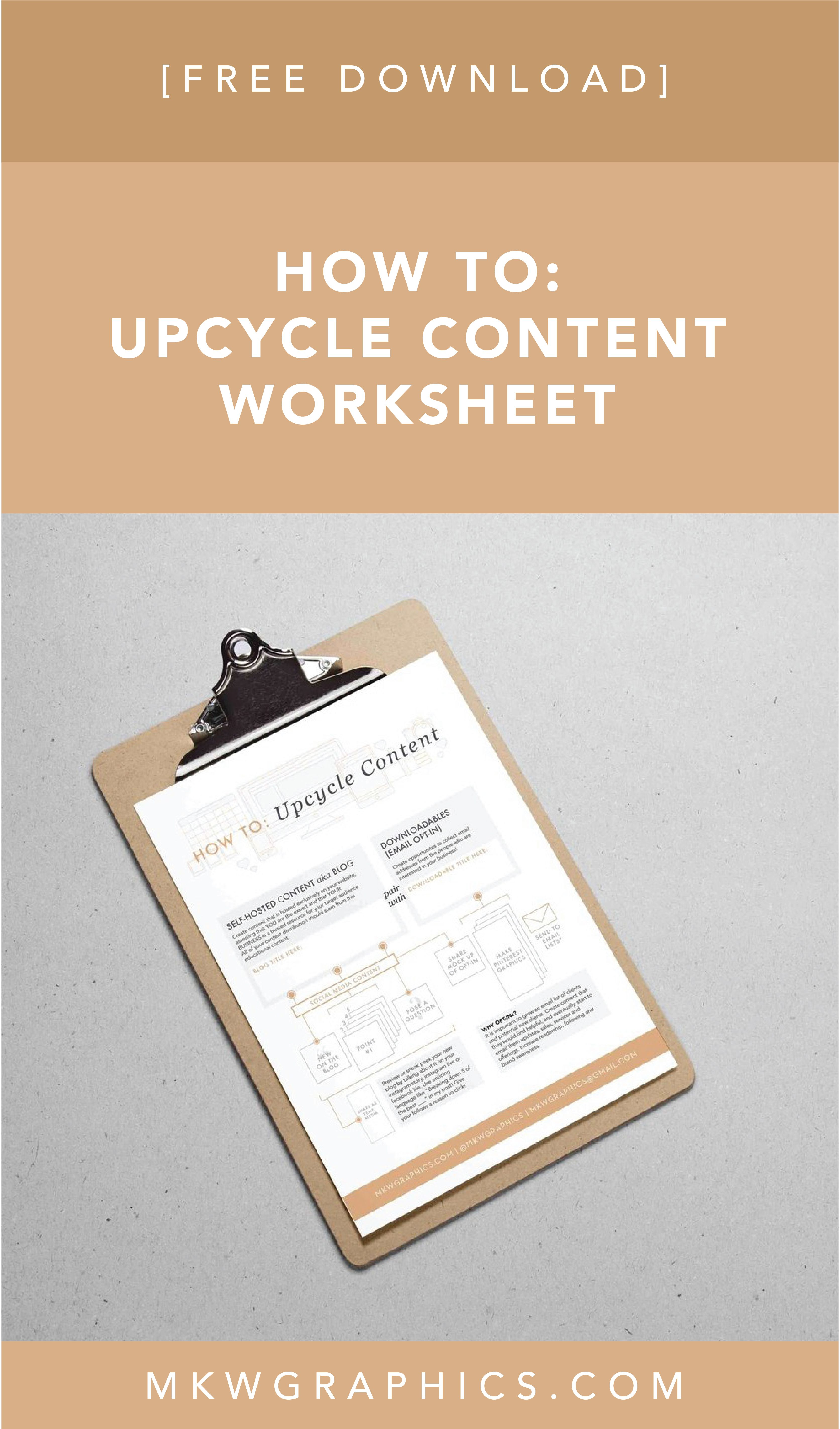 How To Upcycle Content Worksheet By Brand Designer