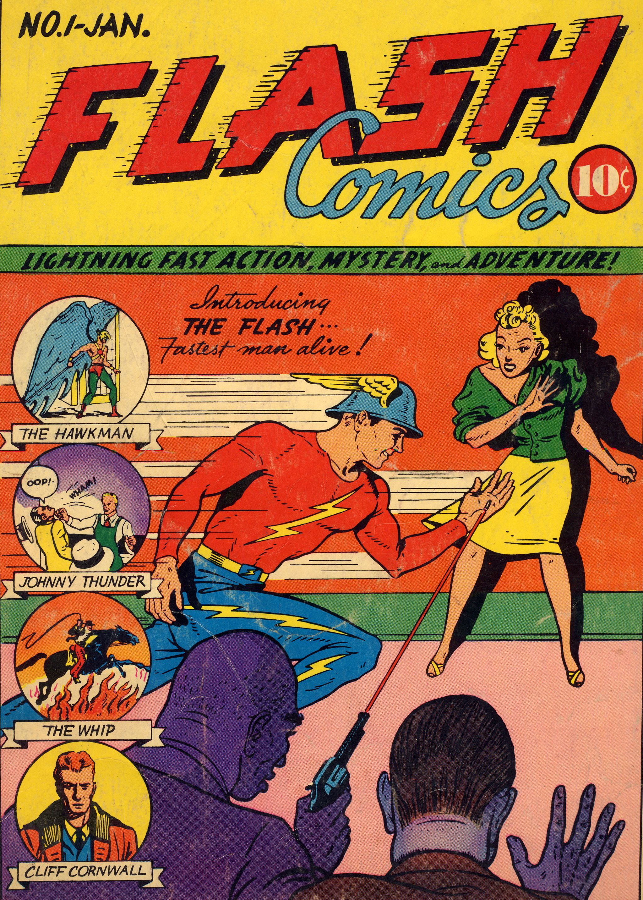 flash comics 001  1940  the flash  jay garrick   first appearance   origin  his future wife joan