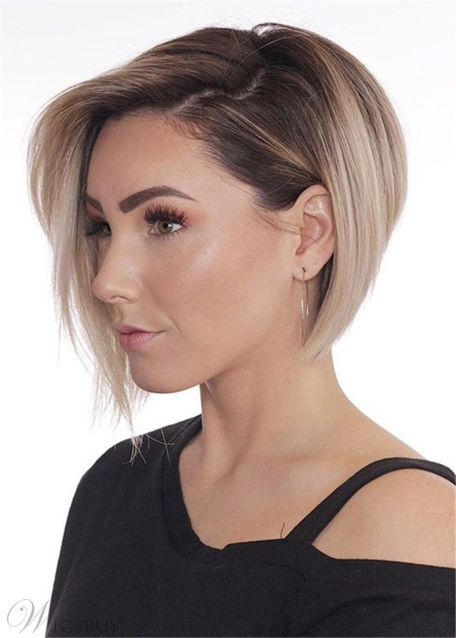 Short Bob Layered Hairstyle Synthetic Straight Lace Front Wig 10 Inches Short Hair With Layers Thick Hair Styles Hair Styles