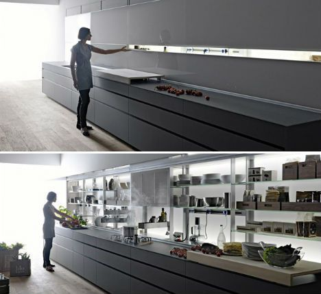 Sleek Self-Contained Kitchen Design Disguises Clutter | Designs & Ideas on Dornob