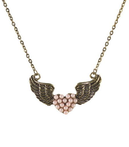 Vintage Wing Heart Beads Pendant Necklace #SheInside